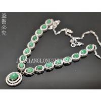 直销批发天然哥伦比亚祖母绿925银项饰项链天然宝石珠宝礼品