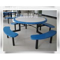 厂家直销食堂餐桌椅 8人位员工连体玻璃钢餐桌 工厂学校桌椅 康腾体育
