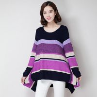 厂家直销秋冬新款毛衣女装甜美针织衫大码宽松中长款毛衣裙打底衫