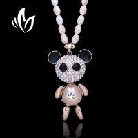 厂家直销时尚韩版百搭天然水晶熊猫长款水钻毛衣链高档防过敏饰品