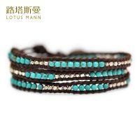 一件代发批发路塔斯曼经典 绿松石与银珠混搭3/5圈棕色皮绳手链