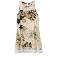2015夏季新款欧美风人棉印花蕾丝花边连衣裙宽松无袖背心裙LFXD-L