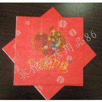 婚庆用品彩色餐巾纸/方形纸巾面巾纸印花纸巾婚庆餐巾纸100张