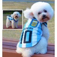 新款世界杯足球背心 狗狗舒适透气棉 阿根廷队 宠物衣服厂家直销