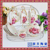 欧式旅行陶瓷咖啡具套装 情侣双杯陶瓷咖啡杯定制