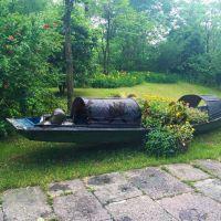 5米公园仿古乌篷船 户外乌篷装饰船 木质景观装饰船 厂家直销