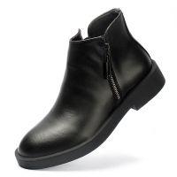 批发 双拉链户外英伦短靴潮流冬季舒适真皮男靴140ZMOZ9517