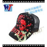 帽子工厂专业订制网帽 韩版刺绣LOGO防晒网帽 潮流烫钻跑步网帽
