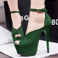 1503-3欧美超高跟时尚性感高跟鞋防水台夜店细跟搭扣凉鞋鱼嘴鞋