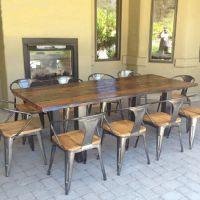 新品推荐 做旧实木咖啡厅餐桌椅 海德利铁艺长条桌椅组合 可定做