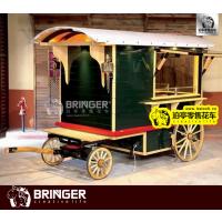 绿武士牵引型复古移动零售花车 英伦风怀旧户外餐饮美食零售花车