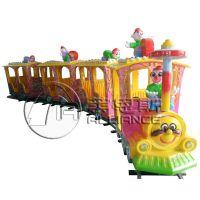 供应郑州莱恩斯新款儿童游乐设备14座豪华仿古轨道小火车