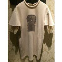 DZ同款2014 秋冬新款2字荷叶袖拼接绣字母修身连衣裙243O577现货