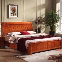 实木床 双人床1.5/1.8M 高箱储物床 橡木床特价包邮 厂家直销