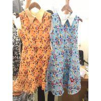 夏季新款时尚几何印花娃娃领高腰无袖连衣裙背心长裙