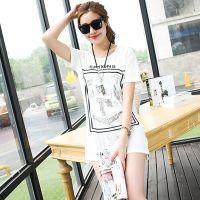 韩版夏季新款印花上衣服打底衫宽松大码胖mm全棉中长款短袖T恤女