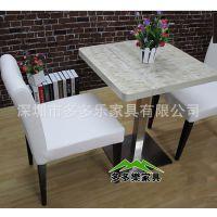 白色经典餐厅桌椅 高级西餐厅大理石餐桌 四人方形桌 两人桌厂家