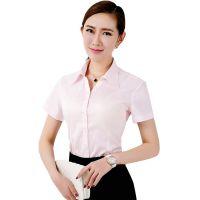 青岛女式工作服|黄岛工作服订制|条纹短袖衬衣V领职业商务衬衫