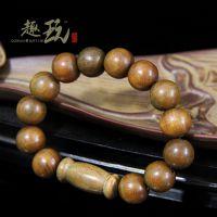 绿檀 绿檀原木佛珠  手串手链 佛教用品 15mm刻楞严咒 男女款