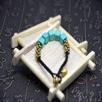 时尚民族风  泰国蜡绳  天然绿松石 纯手工编织手链