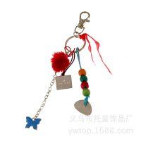厂家直销新款钥匙扣,柔软质感圆毛毛球创意精品钥匙扣挂件,