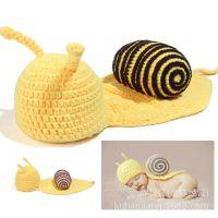 出口欧美 纯手工编织超可爱蜗牛造型儿童手工毛线帽  拍照帽