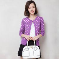 2014新款韩版女式时尚针织衫开衫批发长袖撞色波点薄款宽松打底衫