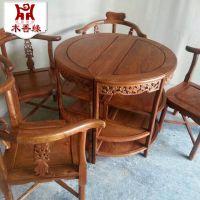 热销推荐 红木古典家具餐桌椅 大果紫檀休闲咖啡桌椅餐桌椅5件套