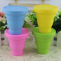 家居日用创意硅胶折叠杯 可折叠收纳硅胶咖啡杯