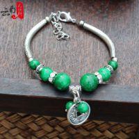 云南民族特色绿松石手链 铜钱藏式手链 民族饰品 苗银手链批发