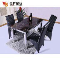 厂家直销 现代时尚简约餐厅家具 不锈钢大理石台面餐桌餐椅子批发