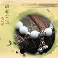 天然白砗磲手链白砗磲配925泰银饰葫芦挂件 女款百搭