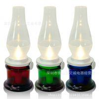 供应新款创意吹控灯可调亮度控蜡烛灯 复古煤油灯 LED小夜灯室内