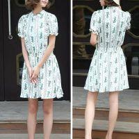 2015夏装热卖女装小立领木耳边清新碎花复古短袖高腰连衣裙SPWM-L