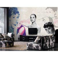 怀旧奥黛丽赫本明星墙纸 个性艺术大型壁画餐厅客厅卧室墙纸壁纸