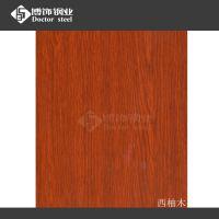 优质304#1.0mm钢板拉丝价格 彩色不锈钢木纹板图片【热转印西柚木】