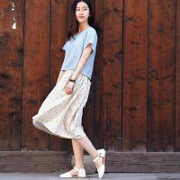 2015清新小碎花日系吊带连衣裙罩衫长裙两件套短袖t恤厂家直销