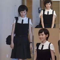 何以笙箫默赵黙笙明星唐嫣同款2015新款黑白斗篷雪纺上衣加半身裙