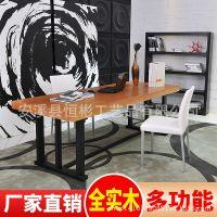 简约现代 实木办公桌 主管桌 大班台 原木大板餐桌 写字台 会议桌