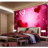 浪漫情侣套房主题酒店宾馆装修无纺布墙布 烈焰红唇墙纸壁纸