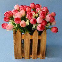 高仿真花艺 15头玫瑰花苞 星星苞 3色选 绢花干花装饰插花