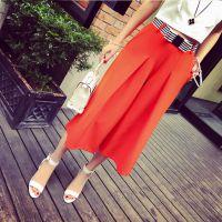 小银子2015夏装新款撞色腰带好品质垂坠感显瘦七分阔腿裤G