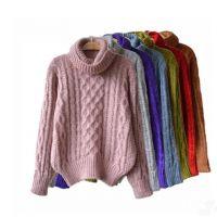 韩国高领毛衣女套头宽松女装复古混色中长款针织打底衫加厚