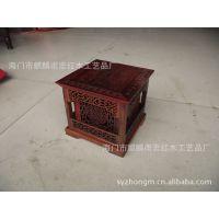 红酸枝正方双层镂空雕刻盘香盒 熏香炉盒 红木雕刻香具木雕摆件