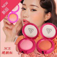 彩妆正品3ce 3只眼炫彩玫红新包装烤腮红粉胭脂 双色自然细腻腮红