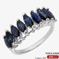 首饰加盟 亿贝珠宝首饰 925银镀白金天然蓝宝石戒指SR0068S