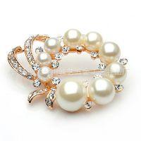 时尚OL镶珍珠高档手工金属胸针 婚礼纪念品 女式百搭 订制批发