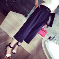 小银子2015夏装新款欧美显瘦腰带宽松休闲七分阔腿裤女K4442