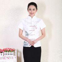 酒店工作服夏装 茶艺师服装 唐装茶楼服务员工作服短袖 女士T01