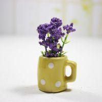厂家直销迷你陶瓷花杯假花植物盆栽批发2元店货源小仿真植物盆栽